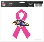 "Baltimore Ravens NFL Team Wincraft 5"" x 6"" Full Color Ultra Decal Cling Pink Ribbon Breast Cancer Awareness Logo"
