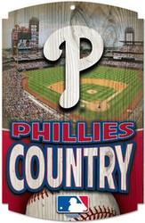 "Philadelphia Phillies Country MLB Team Logo Wincraft 11"" x 17"" Hardboard Wood Sign"