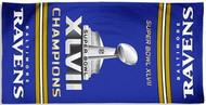 "Baltimore Ravens Super Bowl XLVII 47 Champions WinCraft McArthur 30""x60"" Fiber Beach Towel"