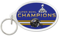 Baltimore Ravens Super Bowl 47 XLVII Champions NFL Team Logo Wincraft Acrylic Oval Key Ring