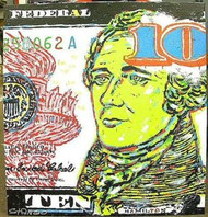 Alexander Hamilton 10 Dollar Bill 38x40 John Stango Original Abstract Art Acrylic On Canvas Painting
