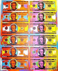 Andrew Jackson 20 Dollar Bill Sheet 38x48 John Stango Original Abstract Art Acrylic On Canvas Painting