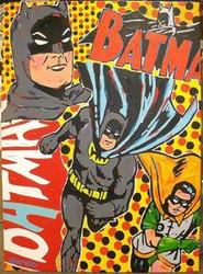 Batman & Robin 43x59.5 John Stango Original Abstract Art Acrylic On Canvas Painting