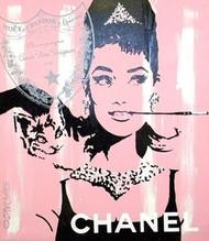 Audrey Hepburn Breakfast at Tiffany's Dom Perignon Chanel 41x48 John Stango Original Abstract Art Acrylic On Canvas Painting