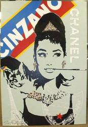 Audrey Hepburn Cinzano Dom Perignon Eiffel Tower Chanel 39x57 John Stango Original Abstract Art Acrylic On Canvas Painting