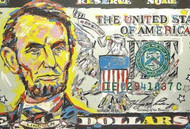Abraham Lincoln 5 Dollar Bill 60x40 John Stango Original Abstract Art Acrylic On Canvas Painting