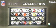 NFL Revolution Display Set (wood case) All 32 NFL Team Pocket Pro Revolution Helmets - Current Logos