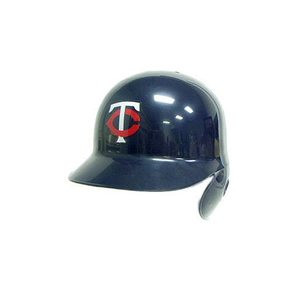 Red single flap batting helmet