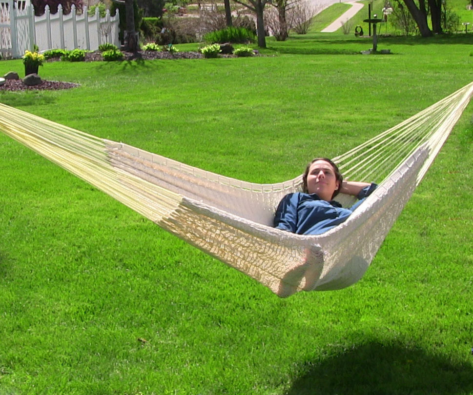Sunnydaze XXL Thick Cord Mayan Hammock Natural Photo