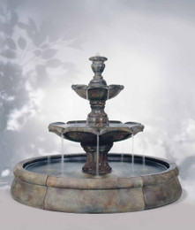 Traditional Cast Stone Finial Spill Fountain in Crested Pool by Henri Studio