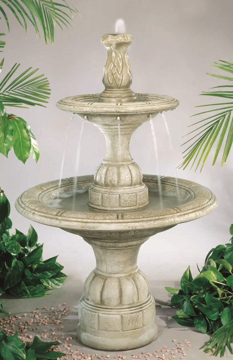Tiered Cast Stone Small Contemporary Waterfall Fountain Elban Olivestone Photo
