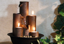 Alpine Eternity Three Candles Tabletop Fountain