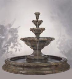 Henri Studio Cast Stone Grande Kensington Three Tier Fountain in Pool