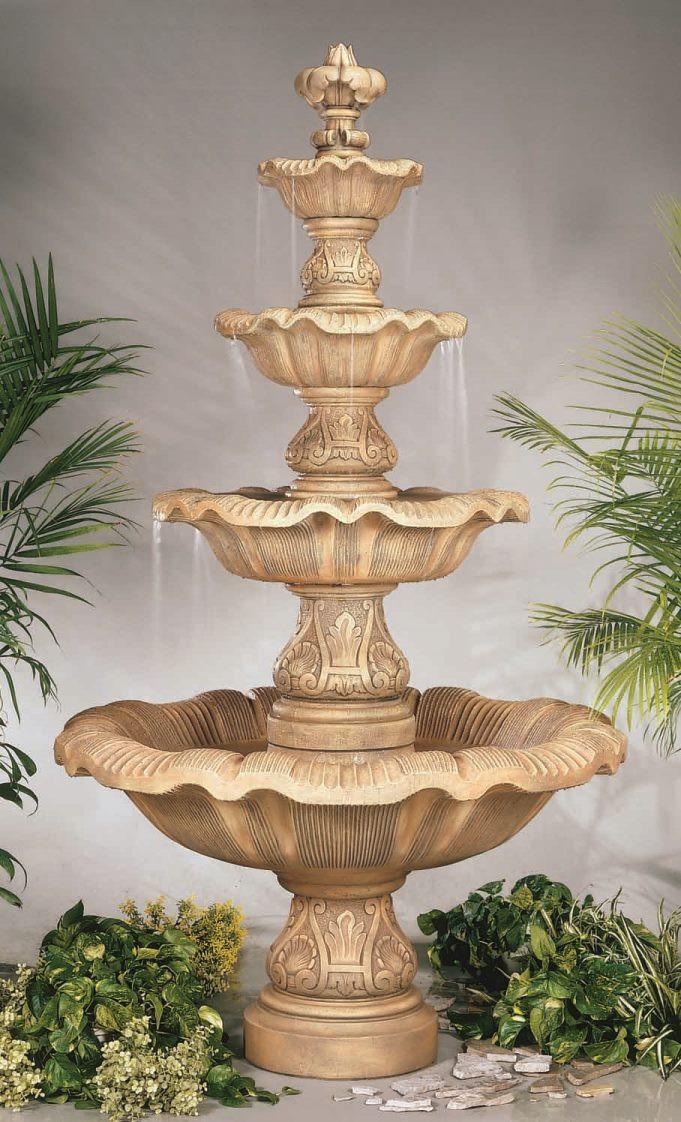 Cast Stone Four Tier Renaissance Fountain Henri Studio Image 7