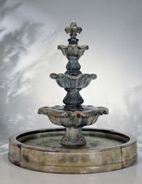 Cast Stone Three Tier Renaissance in Valencia Fountain by Henri Studio