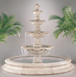 Cast Stone Four Tier Renaissance Fountain In Toscana Pool by Henri Studio