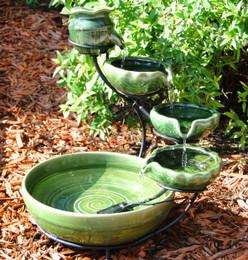 Sunnydaze Green Ocean Ceramic Cascade Solar Fountain