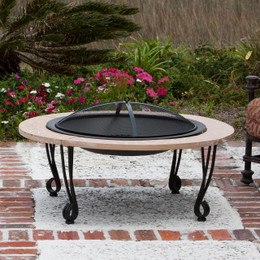 Cast Iron Rim Stone Finish Fire Pit
