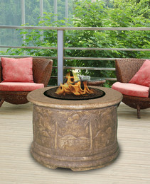Palm Chat Height Fire Pit Table Without Granite Top