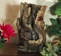 Alpine Tree Trunk Tabletop Fountain with LED Lights