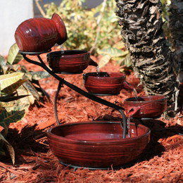 Smart Solar Red Lava Ceramic Cascade Solar Fountain