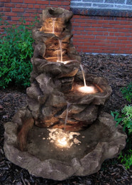 Sunnydaze Lighted Stone Springs Outdoor Fountain