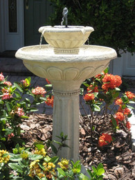 Smart Solar Kensington Gardens 2-Tier Solar-on-Demand Birdbath Fountain