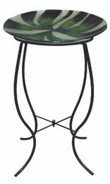 Green Abstract Glass Birdbath w/ Stand