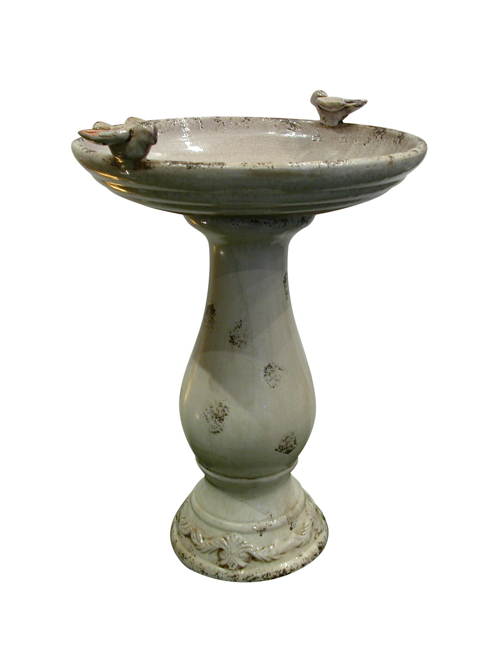 Antique Ceramic Birdbath Birds Light Picture 631