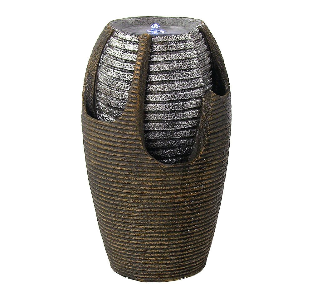 Sunnydaze Bubbling Pot Solar On Demand Water Fountain Silver LED Picture 314