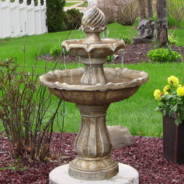 Sunnydaze Two Tier Solar-on-Demand Outdoor Water Fountain, Earth Finish, 35 Inch Tall