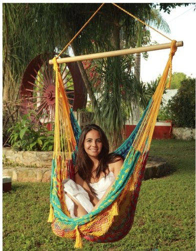 Sunnydaze Large Mayan Chair Hammock Wood Bar Multicolor Image 790
