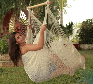Sunnydaze Extra Large Mayan Chair Hammock Wood Bar Natural Image 705