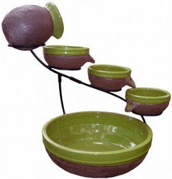 Smart Solar Kiwi Ceramic Solar Cascade with Rustic Brown Finish