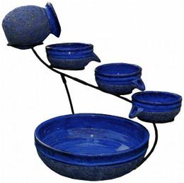 Smart Solar Blueberry Ceramic Solar Cascade with Rustic Blue Finish