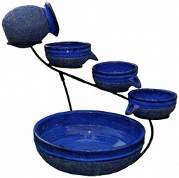 Smart Solar Blueberry Ceramic Solar Cascade with Rustic Blue Finish