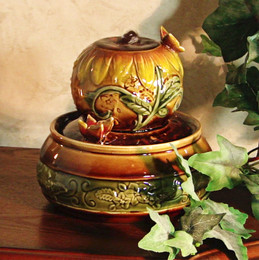 Alpine Ceramic Ball with Butterfly Tabletop Fountain