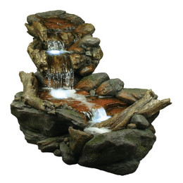 3 Tier Weathered Rainforest Fountain with LED Lights