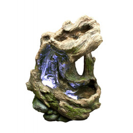 Curved Log Rainforest Fountain w/ LED Light