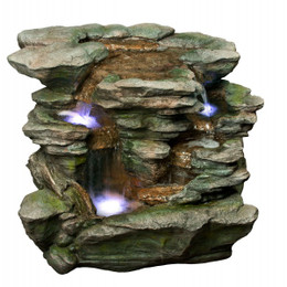 Alpine Polyresin Waterfall with White LED Light