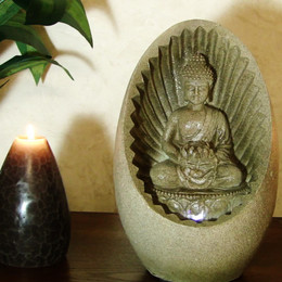 Alpine Buddha Tabletop Fountain with LED Light