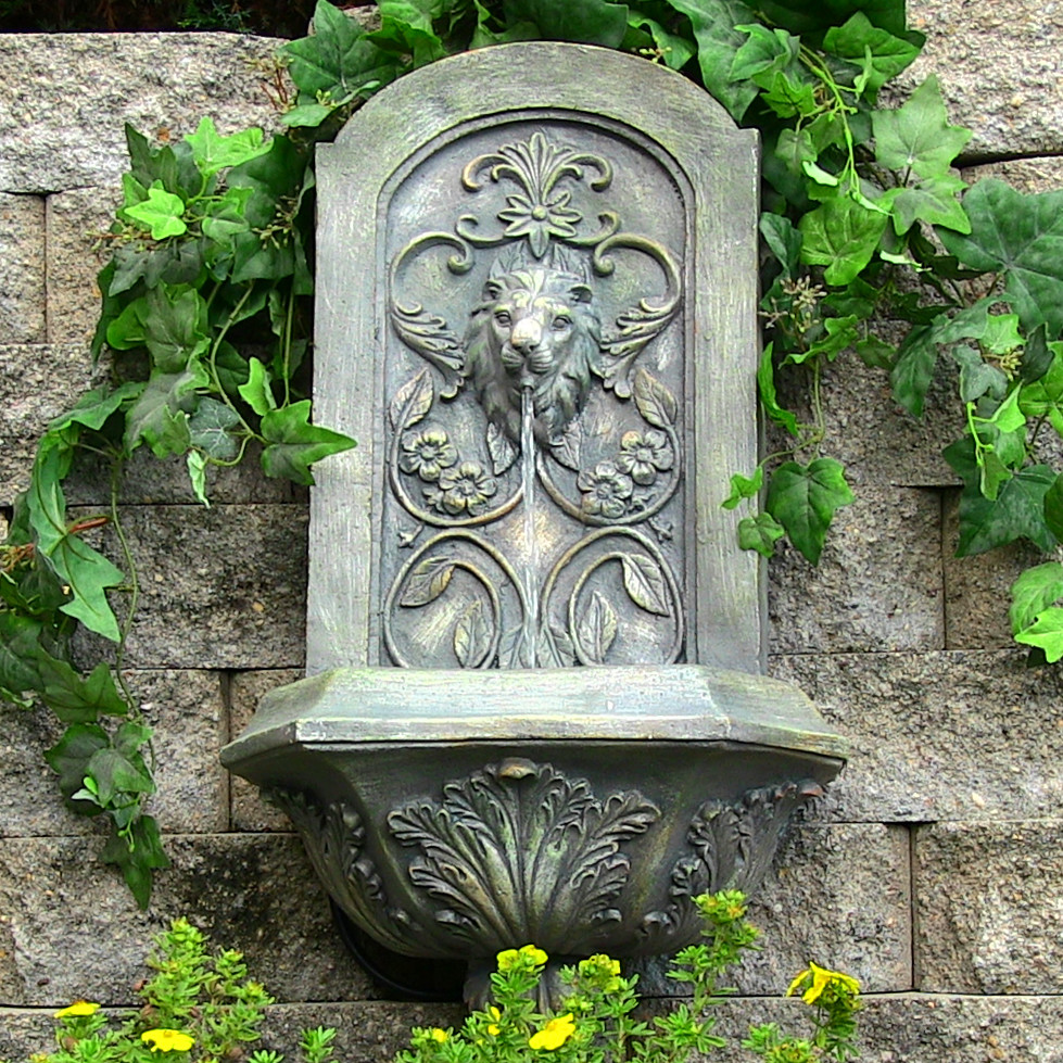 Sunnydaze Decorative Lion Solar Wall Fountain French Limestone Solar on D Photo