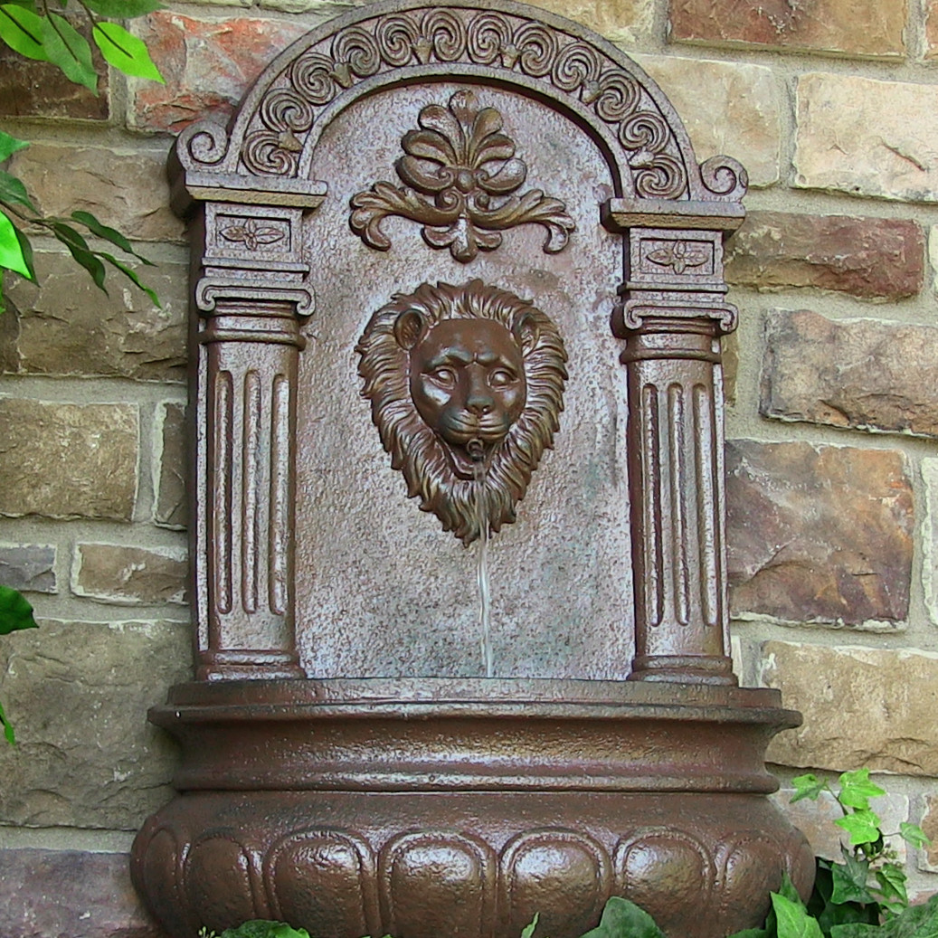 Sunnydaze Imperial Lion Solar Wall Fountain Iron Solar Only Feature Picture 249