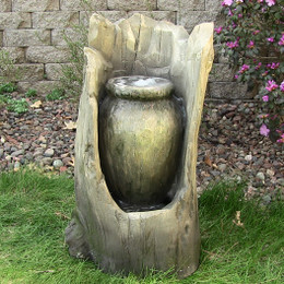 Sunnydaze Stump Urn Fountain w/LED Light