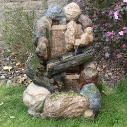 Sunnydaze Rock and Wood Fountain w/LED Light