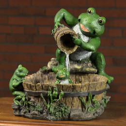 Eternity Tabletop Fountain: Mother Frog Bathing Family
