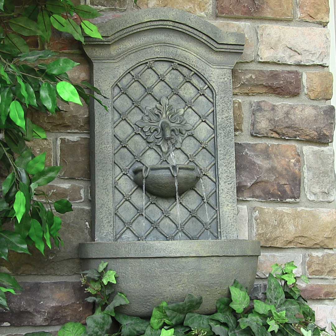 Sunnydaze Rosette Leaf Outdoor Wall Fountain Limestone Tall Photo