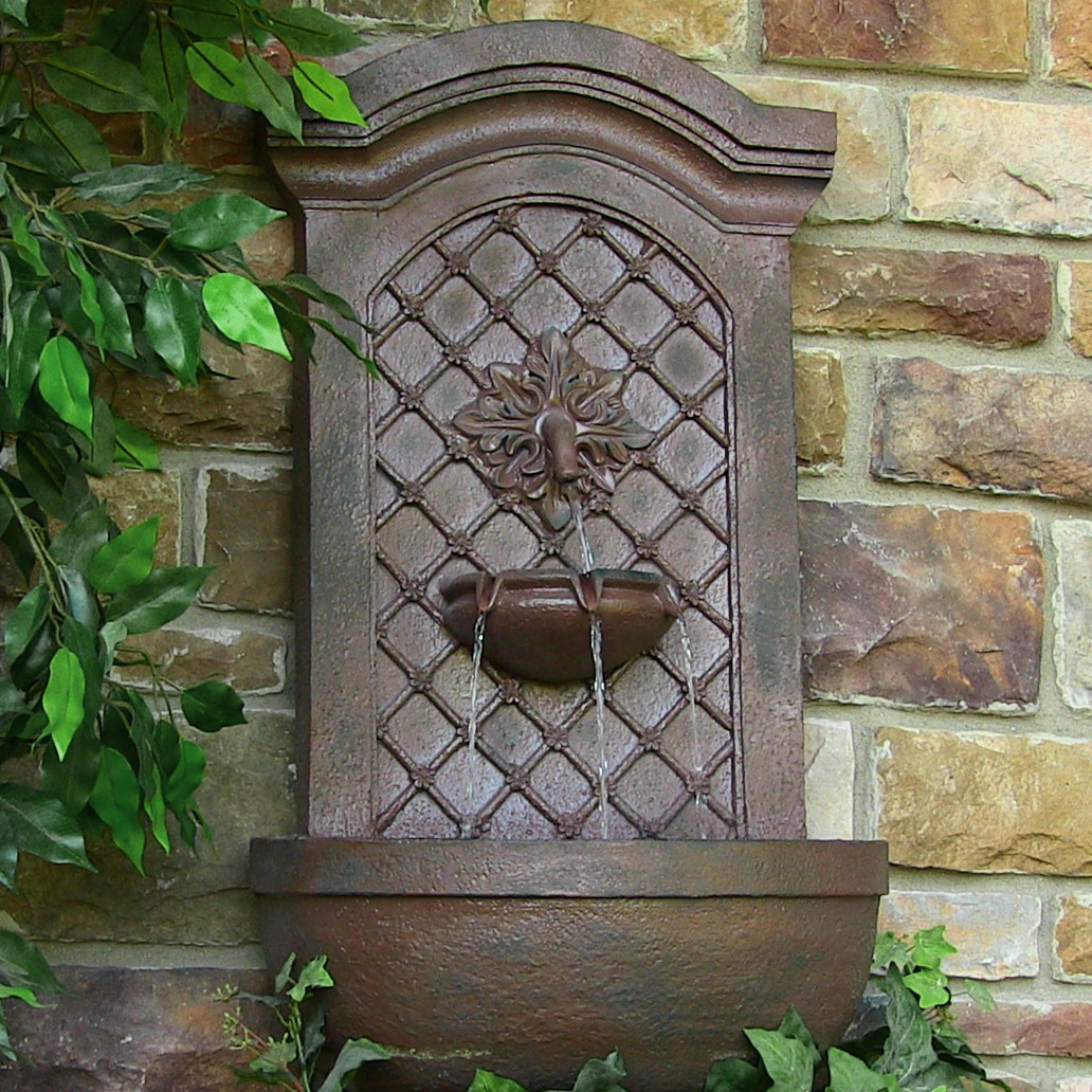 Sunnydaze Rosette Solar Wall Fountain Weathered Iron Solar Only Feature Picture 279