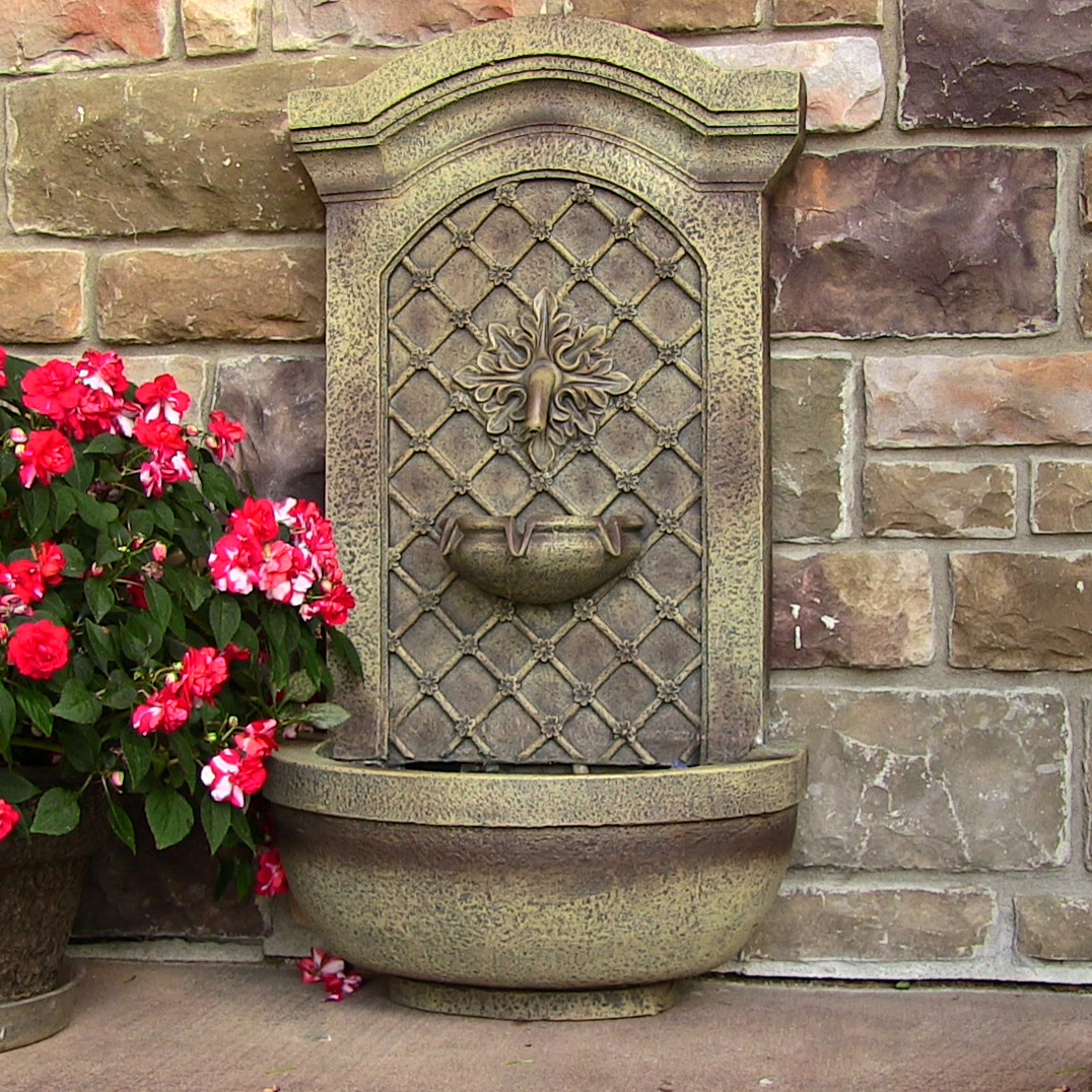 Rosette solar wall fountain outdoor decor easy assembly for Outdoor wall fountains
