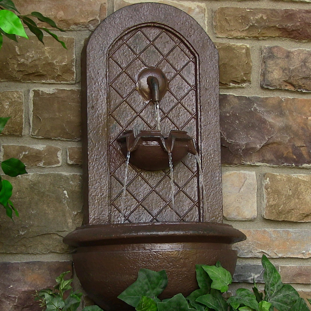 Sunnydaze Marsala Solar Wall Fountain Weathered Iron Solar Only Feature Picture 323